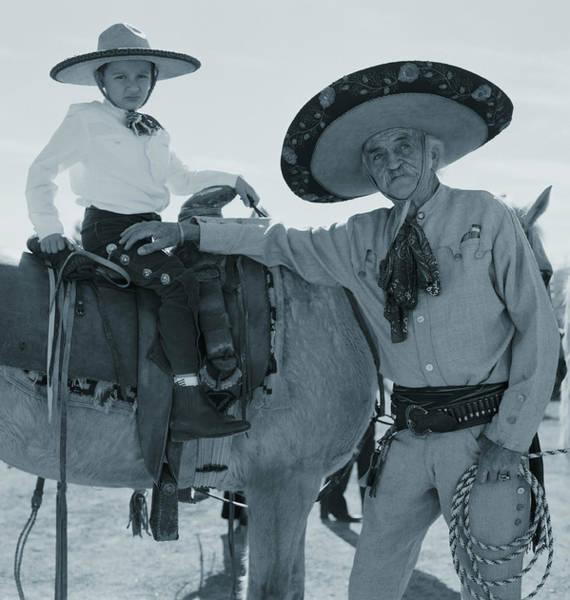 Wall Art - Photograph - Mature Cowboy And Grandson 7-9 On by Ann Summa