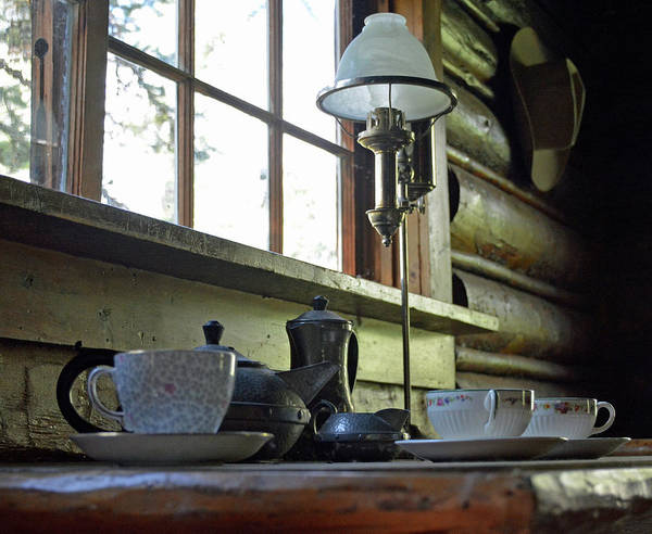 Photograph - Maud Noble Cabin Table In Grand Teton National Park by Bruce Gourley