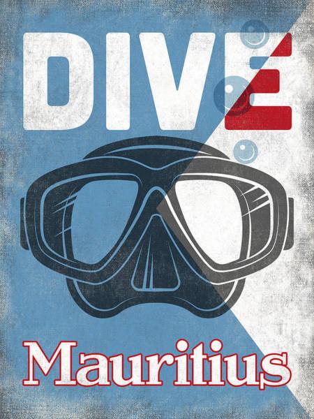 Scuba Digital Art - Mauritius Vintage Scuba Diving Mask by Flo Karp