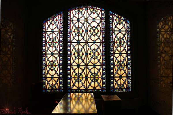 Grave Robbers Wall Art - Photograph - Mausoleum Stained Glass by Michael Rucker