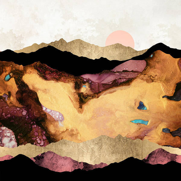 Wall Art - Digital Art - Mauve And Gold Mountains by Spacefrog Designs