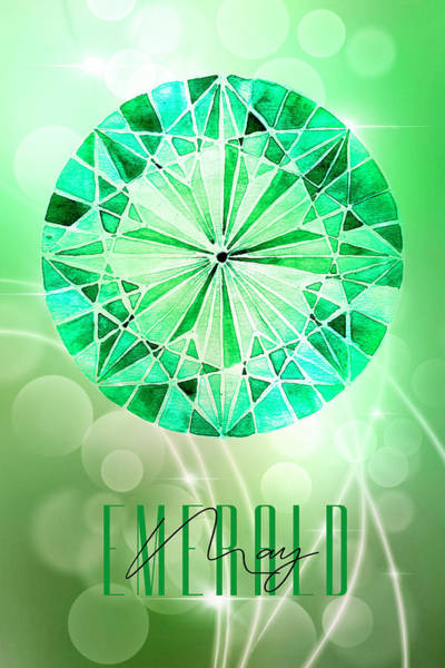 Wall Art - Mixed Media - May Birthstone - Emerald by Amanda Lakey
