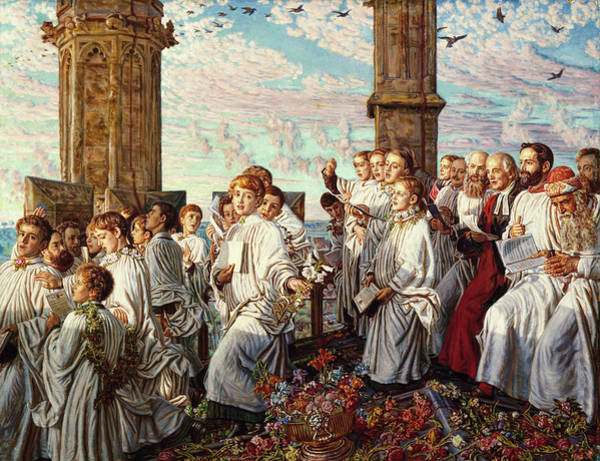 Wall Art - Painting - May Morning On Magdalen College, Oxford, Ancient Annual Ceremony by William Holman Hunt