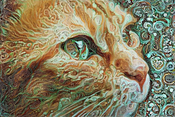 Digital Art - Maya The Ginger Cat by Peggy Collins