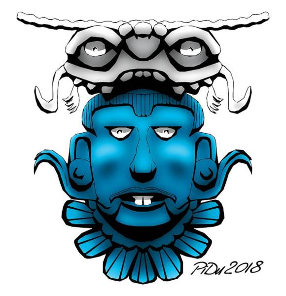 Digital Art - Mayan Blue Mask by Piotr Dulski