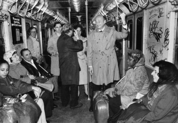 Mayor Ed Koch Rides The Subway Art Print by New York Daily News Archive