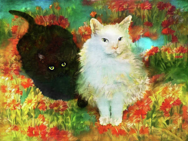 Digital Art - Mccartney And Silky In The Garden by Peggy Collins
