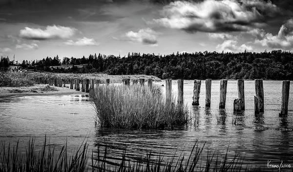 Halifax Nova Scotia Digital Art - Mccormack's Beach Provincial Park, Black And White by Ken Morris