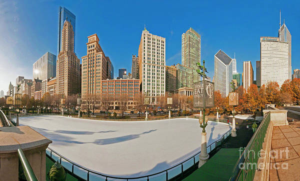Mccormick Tribune Plaza Ice Rink And Skyline   Art Print