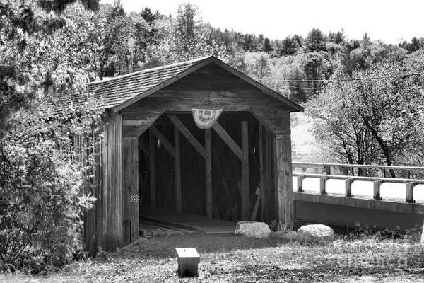 Photograph - Mcdermott Covered Bridge Black And White by Adam Jewell