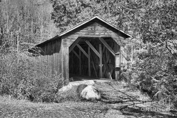 Photograph - Mcdermott Covered Bridge In The Woods Black And White by Adam Jewell