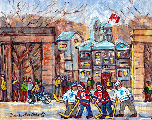 Painting - Mcgill University Roddick Gates Original Painting For Sale Hoockey Art C Spandau Canadian City Scene by Carole Spandau