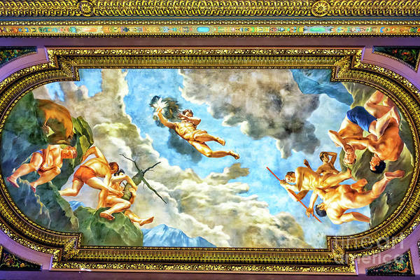Photograph - Mcgraw Rotunda Ceiling Mural At The New York Public Library by John Rizzuto