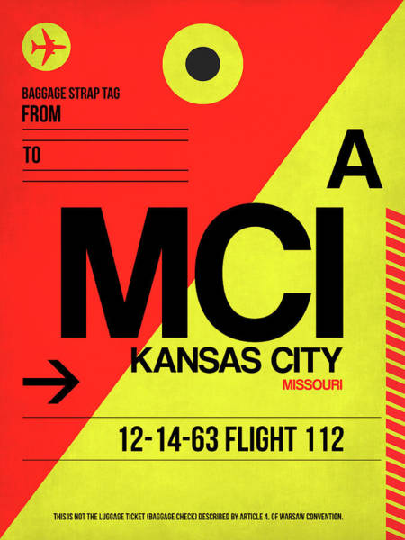 Wall Art - Digital Art - Mci Kansas City Luggage Tag I by Naxart Studio