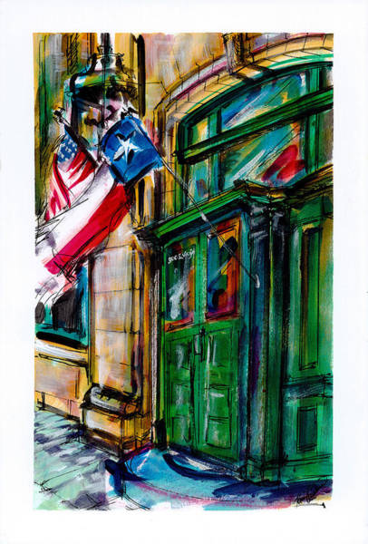 Wall Art - Painting - Mckinney Texas 1911 Federal Building by Kim Guthrie