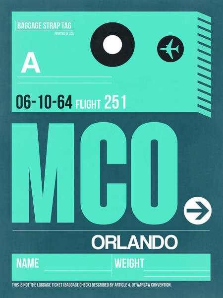 Wall Art - Digital Art - Mco Orlando Luggage Tag II by Naxart Studio