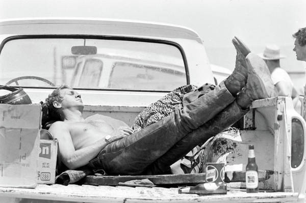 Steve Mcqueen Photograph - Mcqueen Asleep In Pickup by John Dominis