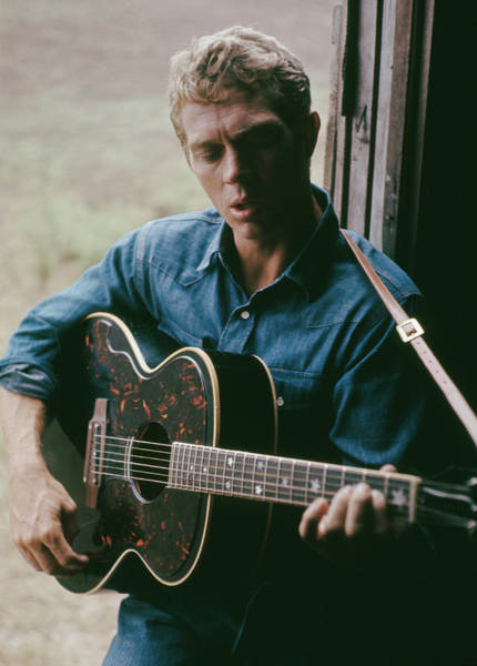 Steve Mcqueen Photograph - Mcqueen Plays Guitar by Paul Popper/popperfoto