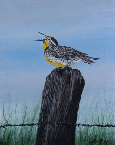 Meadowlark Painting - Meadowlark by Sheila Banga
