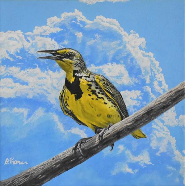 Meadowlark Painting - Meadowlark's Song by Doreen Vroman