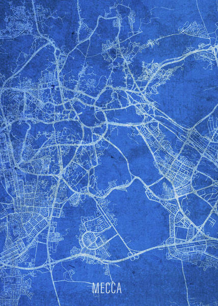 Wall Art - Mixed Media - Mecca Saudi Arabia City Street Map Blueprints by Design Turnpike