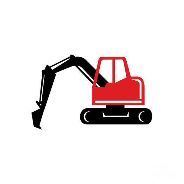 Wall Art - Digital Art - Mechanical Excavator Digger Retro Icon by Aloysius Patrimonio