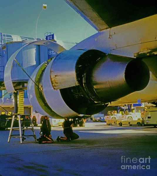 Photograph - Mechanics Working On 767 Engine  by Tom Jelen
