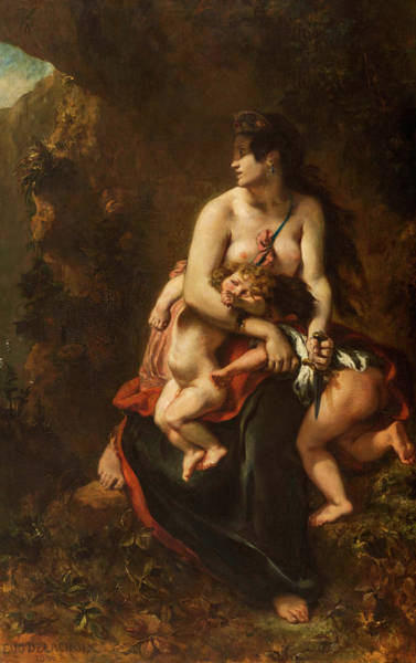 Tragedy Painting - Medea About To Kill Her Children by Eugene Delacroix