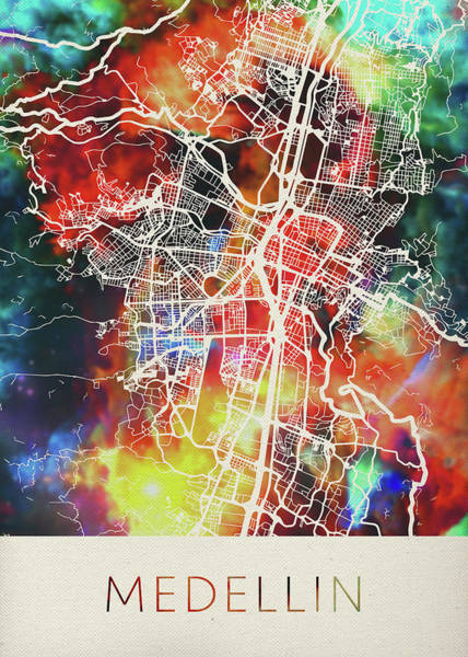 Colombian Wall Art - Mixed Media - Medellin Colombia Watercolor City Street Map by Design Turnpike