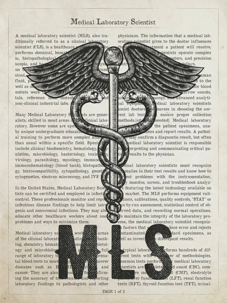 Wall Art - Digital Art - Medical Laboratory Scientist Gift Idea With Caduceus Illustratio by Aged Pixel