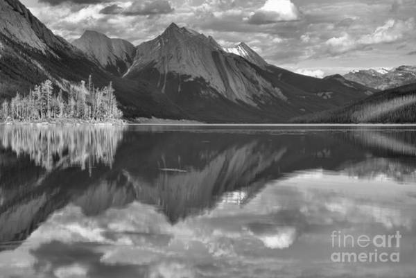 Photograph - Medicine Lake Island Reflections Black And White by Adam Jewell