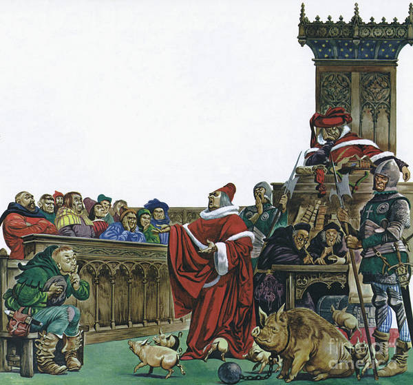 Wall Art - Painting - Medieval Court In Which Animals Were Put On Trial  by Peter Jackson