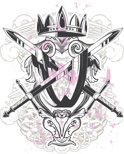 Digital Art - Medieval Crest Crown Swords Flowers by Passion Loft