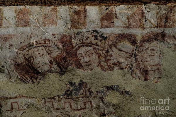 Wall Art - Photograph - Medieval King And Queen Painted On Wall Of The Cotswolds Ivy Church, Ampney St Mary, United Kingdom by Terence Kerr