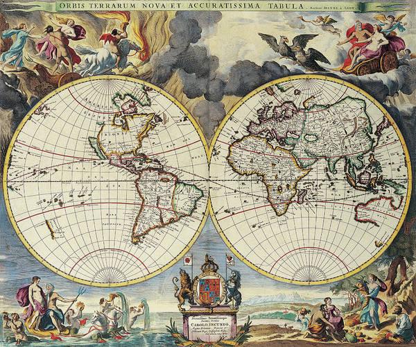 Photograph - Medieval Map Of The World by Steve Estvanik