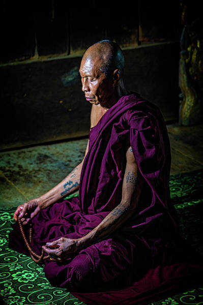 Photograph - Meditating Buddhist Monk by Chris Lord