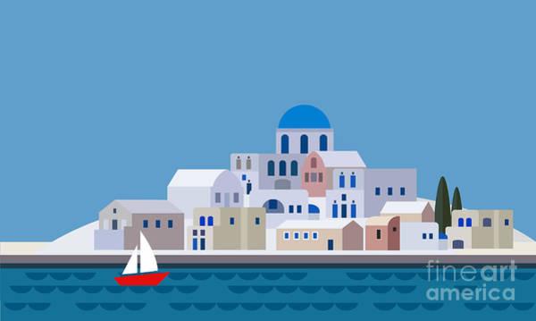 Cypress Digital Art - Mediterranean Landscape By Sea. Greek by Tabitazn