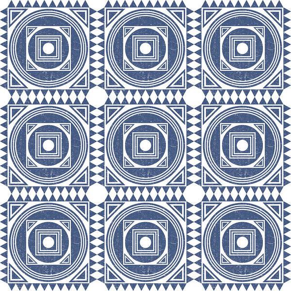 Faded Mixed Media - Mediterranean Pattern 1 - Tile Pattern Designs - Geometric - Blue - Ceramic Tile - Surface Pattern by Studio Grafiikka