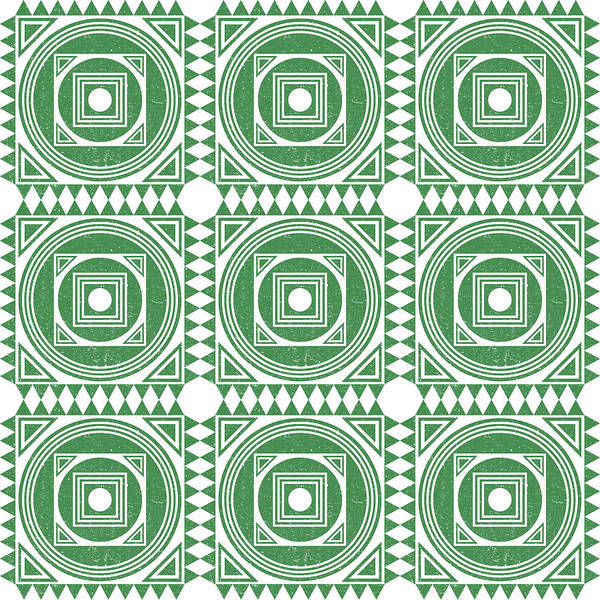 Faded Mixed Media - Mediterranean Pattern 2 - Tile Pattern Designs - Geometric - Green - Ceramic Tile - Surface Pattern by Studio Grafiikka