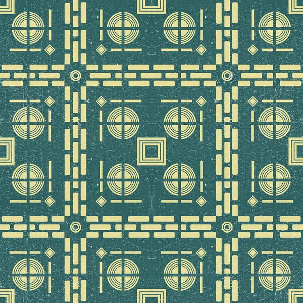 Faded Mixed Media - Mediterranean Pattern 11 - Tile Pattern Designs - Geometric - Navy - Ceramic Tile - Surface Pattern by Studio Grafiikka