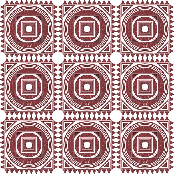 Faded Mixed Media - Mediterranean Pattern 3 - Tile Pattern Designs - Geometric - Maroon - Ceramic Tile - Surface Pattern by Studio Grafiikka