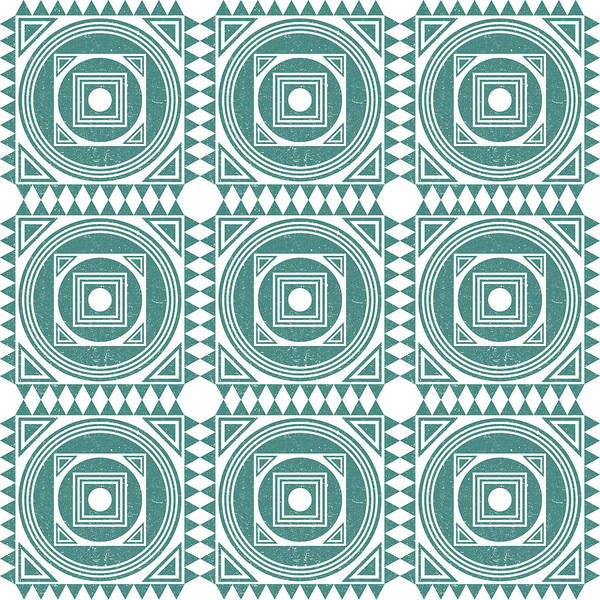 Teal Mixed Media - Mediterranean Pattern 4 - Tile Pattern Designs - Geometric - Teal - Ceramic Tile - Surface Pattern by Studio Grafiikka