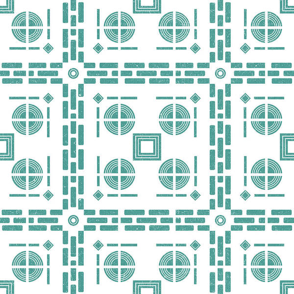 Teal Mixed Media - Mediterranean Pattern 5 - Tile Pattern Designs - Geometric - Blue - Ceramic Tile - Surface Pattern by Studio Grafiikka