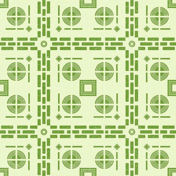 Faded Mixed Media - Mediterranean Pattern 6 - Tile Pattern Designs - Geometric - Green - Ceramic Tile - Surface Pattern by Studio Grafiikka