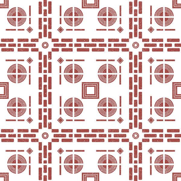 Faded Mixed Media - Mediterranean Pattern 7 - Tile Pattern Designs - Geometric - Maroon - Ceramic Tile - Surface Pattern by Studio Grafiikka