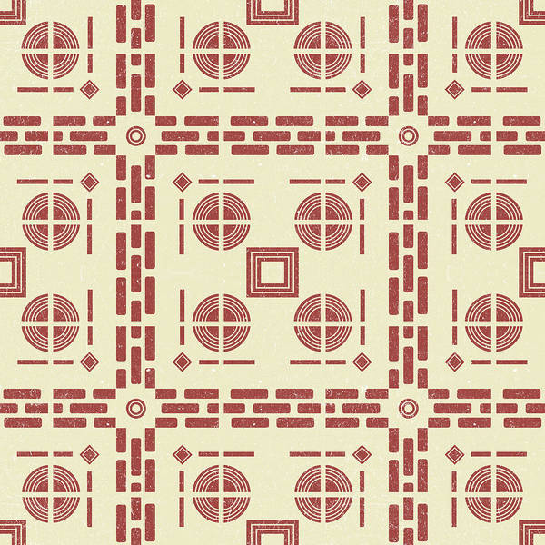 Faded Mixed Media - Mediterranean Pattern 8 - Tile Pattern Designs - Geometric - Red - Ceramic Tile - Surface Pattern by Studio Grafiikka