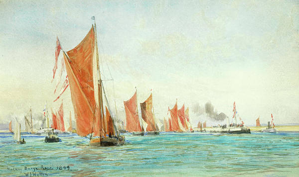 Medway Wall Art - Painting - Medway Barge Race 1899 by William Lionel Wyllie