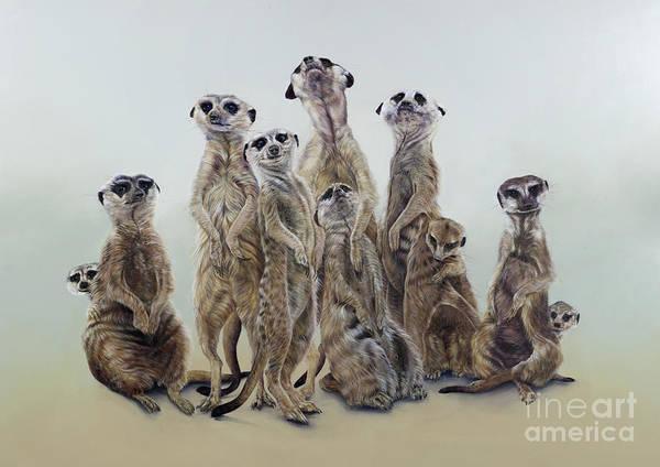 Wall Art - Painting - Meerkat Mob, Sun Angels, 2013  Acrylic  by Odile Kidd