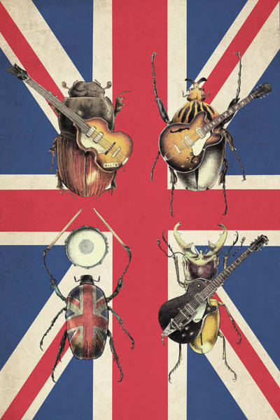 Wall Art - Drawing - Meet The Beetles - Union Jack by Eric Fan