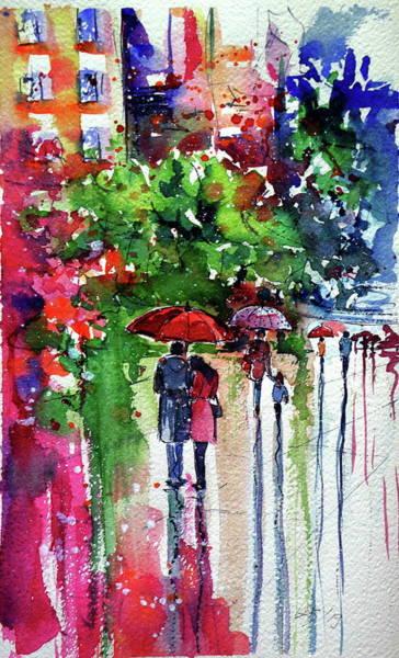 Wall Art - Painting - Meeting At Rainy Day by Kovacs Anna Brigitta